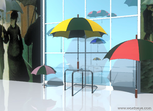 WordsEye Picture: Umbrella world.
